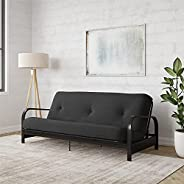 """Brax Black Metal Arm Full Size Futon Frame with 6"""" Thermobonded High Density Polyester Fill Black Futon Mattre"""