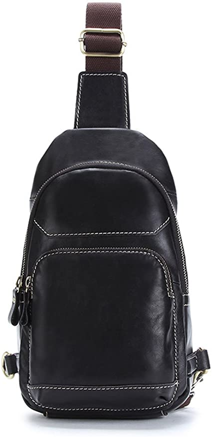 Color : Black Ybriefbag Outdoor Sports Men Chest Bag Genuine Leather Business Crossbody Bag Shoulder Bags Travel Bag Sports and Leisure Bag Black Chest Pack Daypack