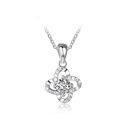 b9c23c7f56e52d Buy Personality 925 Sterling Silver Jewellery Cubic Zirconia Crystal Classic  Pendant Necklace for Women Online at Low Prices in India | Amazon Jewellery  ...