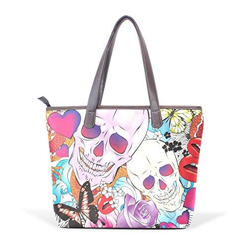 Maniglia Shoulder 40x29x9 Tote Cranio E Rose Grande M 001 Bag Cm Coosun Bags Cuoio Di Multicolor Pu WqI0OwdznH