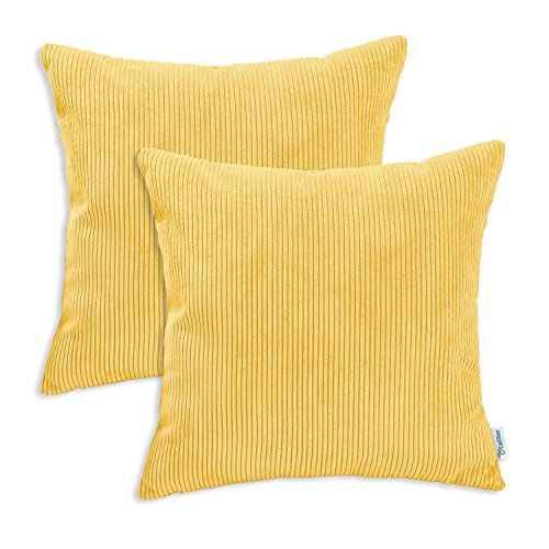 Pack of 2 CaliTime Cozy Throw Pillow Covers Cases for Couch Bed Sofa, Ultra Soft Corduroy Striped Both Sides, 18 X 18 Inches, Yellow / Gold (Polyester Stripe Cover)