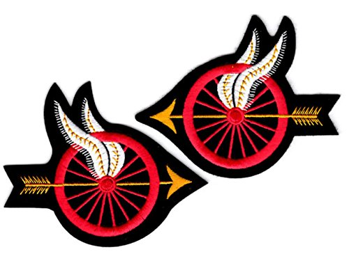 EMBROIDERED UNIFORM PATCHES & EMBLEMS Motorcycle Officer - Red Wheel with Wings and Arrow - Pair ()