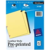 Avery Leather Preprinted Dividers with A-Z Tabs, Black, 25-Tab Set (25180)