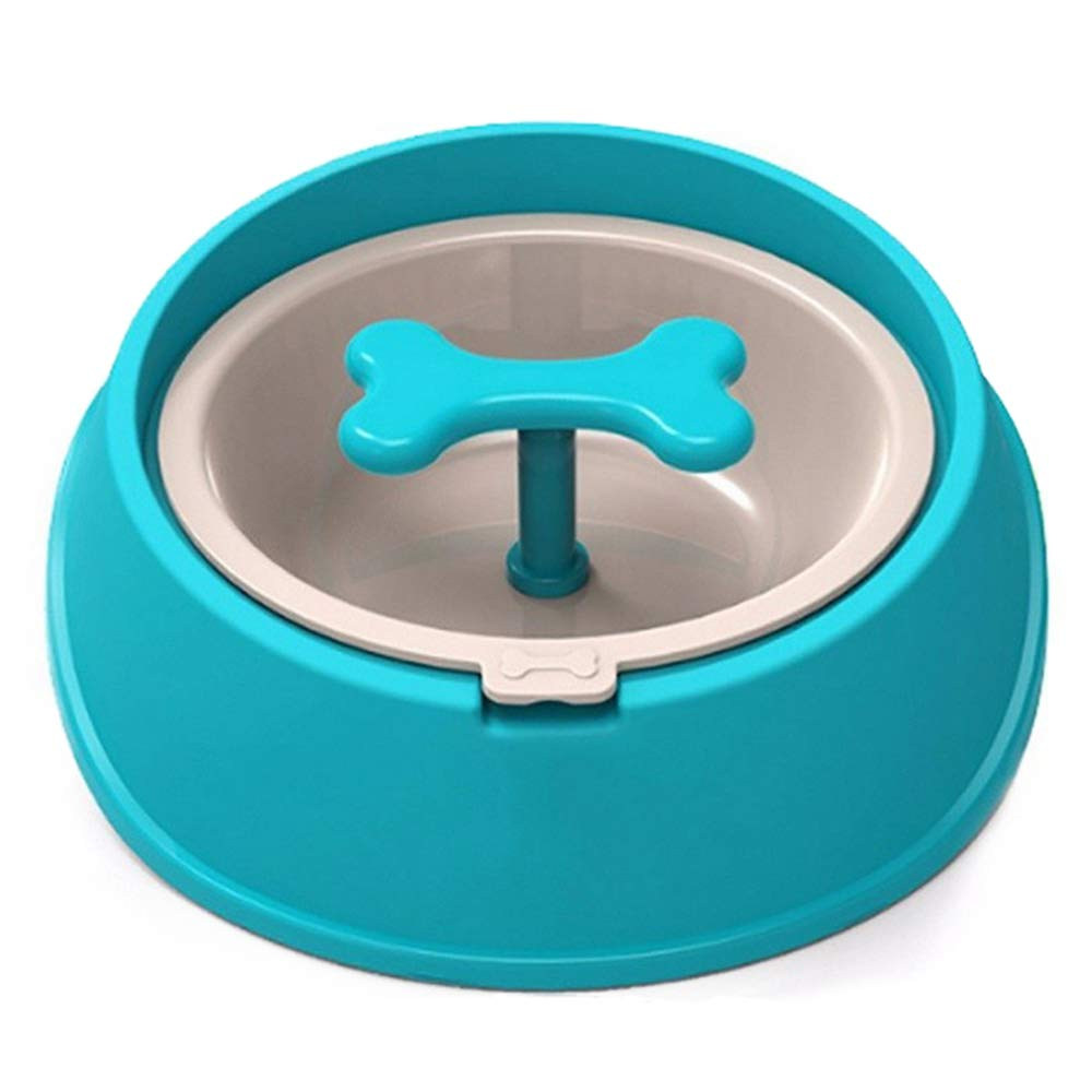 bluee Pet Bowl, Cat Food Bowl Bowl Cat, Stainless Steel Single Bowl, Can Effectively Slow Down The Eating Speed of The Dog, Stimulate It's Interest in Eating, and Enhance Dog's Intelligence,bluee