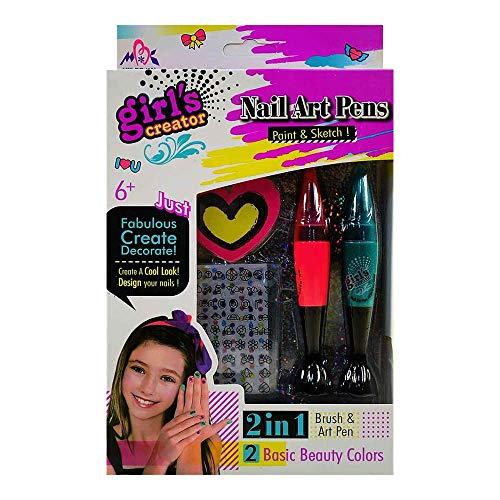 Set de pintura de uñas para niñas con lapices de doble funcion. (Pincel + Lapiz de Arte)