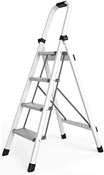 Amazon Com Zaqi Grey White Step Ladder 4 Step Lightweight Thin Folding Ladder Stool With Handles And Wide Step For Kids Adults Kitchen Balcony 150kg Color White Furniture Decor