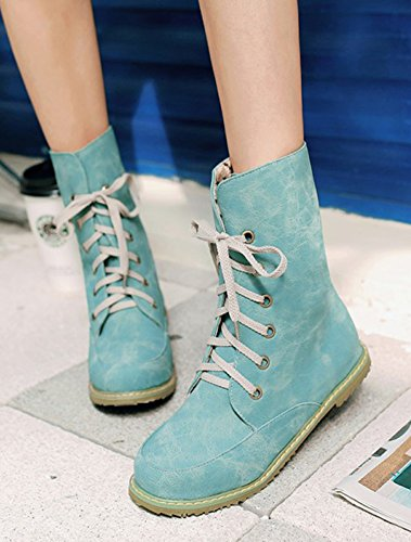 Casual Short Booties Comfort Women's Aisun Shoes Lace High Top Round Ankle Flat Blue Boots Toe Up XFxTnnwR