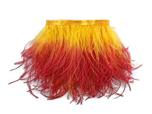 One Of A Kind Costume Jewelry Wholesale (1 Yard Ostrich Feathers , 1 Yard - Fiery Red Ombre Ostrich Fringe Trim Wholesale Feather (Bulk) Mardi Gras, Costume, Carnival, Jewelry Making Feathers)