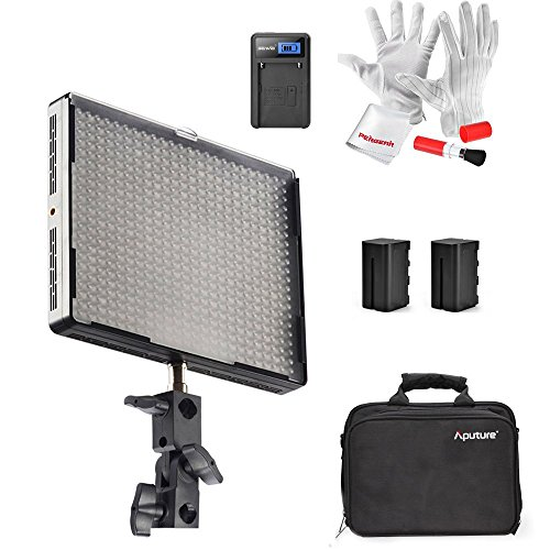 Emgreat® Aputure Amaran AL-528S 528 Led Video Light Panel Led Studio Lighting Kit with Rechargeable Batteries Pack and Pergear Clean Kit by Aputure