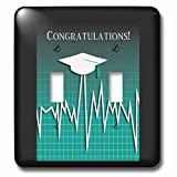 Beverly Turner Graduation Design - Medical Theme, Congratulations, Heart Beat Graph, Grad, Cap, Green - Light Switch Covers - double toggle switch (lsp_234542_2)