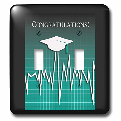 Beverly Turner Graduation Design - Medical Theme, Congratulations, Heart Beat Graph, Grad, Cap, Green - Light Switch Covers - double toggle switch (lsp_234542_2) by 3dRose