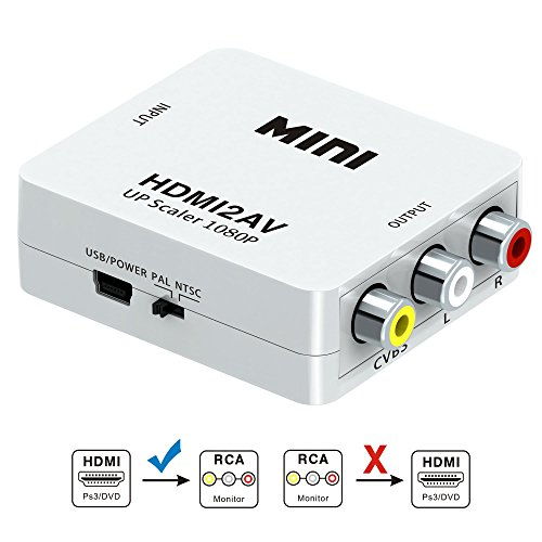 HDMI to RCA, HDMI to AV, GANA 1080P HDMI to AV 3RCA CVBs Composite Video Audio Converter Adapter Supporting PAL/NTSC with USB Charge (Ultimate Audio Converter)