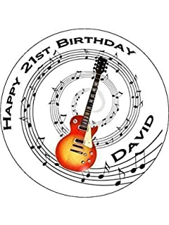 Electric Guitar Red Black Personalised Birthday Cake Topper with