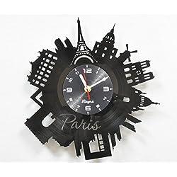 PARIS Vinyl Clock Wall Art Decor for Living Room Modern Art Birthday Gift Parisian Record Clock Eiffel Tower Home Decor Unique France Design