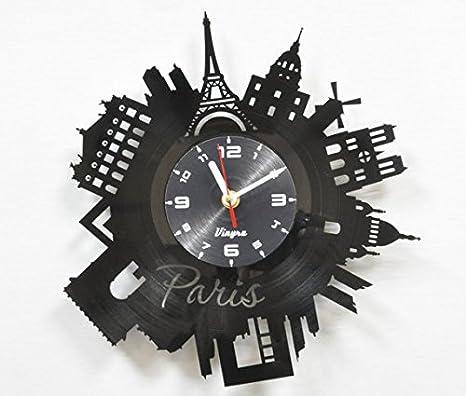 Paris reloj de pared vinilo arte decoración para salón arte moderno regalo de cumpleaños parisino Record reloj de la torre Eiffel decoración para el hogar ...
