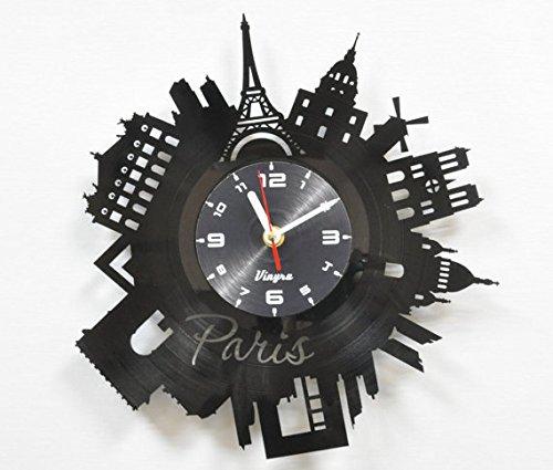 PARIS Vinyl Clock Wall Art Decor for Living Room Modern Art Birthday Gift Parisian Record Clock Eiffel Tower Home Decor Unique France Design - Paris Gift Idea Paris Wall Decor - Paris Wall Clock Black 3