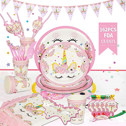 Unicorn Party Supplies Set, YMS 162pcs Value Kit Serve 16 Guests, Theme Party Time Birthday Supplies Decorations Includes Disposable Tableware, Colorful Banner For Kids' Birthday (Pink)