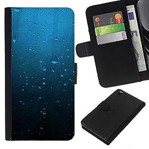 Protector de cuero de la PU de la cubierta del estilo de la carpeta del tirón BY RAYDREAMMM - HTC DESIRE 816 - Gotas de agua azul