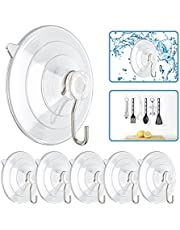 Znben Suction Cup Hooks Clear Reusable 2.5 Inches Suction Cup with Metal Hooks 7 LB Heavy Duty Wreath Hangers Hooks for Glass Window Kitchen Bathroom