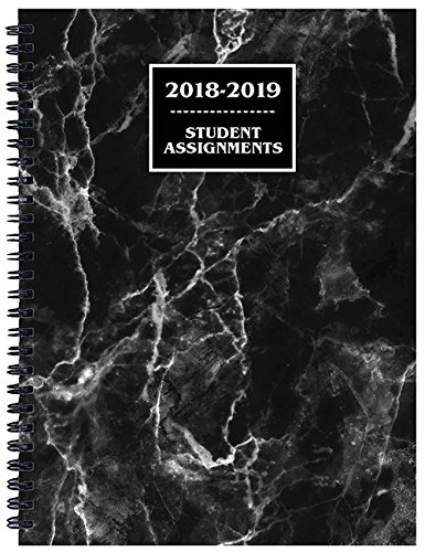 Student Assignment Planner Marble Cover Academic Calendar 7 x 10 School Year (Black)