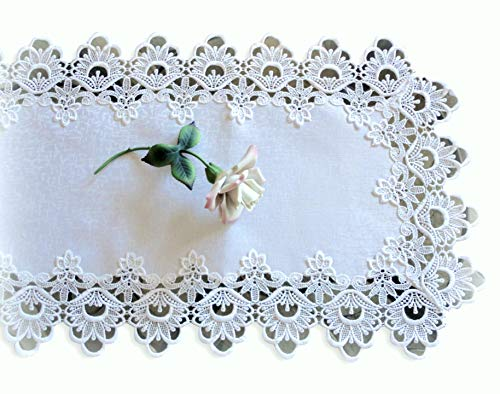 Lace Dresser Scarf Table Runner White Flower European Doily 36