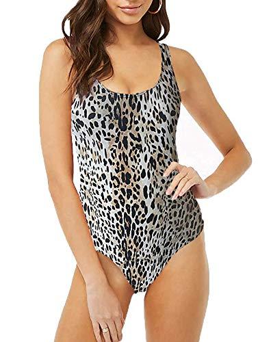 Women's Backless Bodysuit Shapewear for Women Sexy Leotards Tank Tops Cheetah M