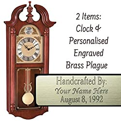 Qwirly 2-Item Bundle: FERRUM Quartz Tempus Fugit Regulator Wall Clock #70809N92214 by Hermle and Personalized Brass Engraved Plaque for Weddings, Anniversaries, Employee Retirement,