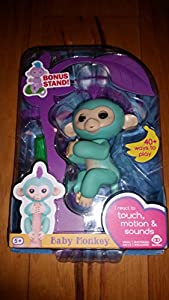 WowWee Fingerlings Zoe Turquoise Baby Monkey with Bonus Stand
