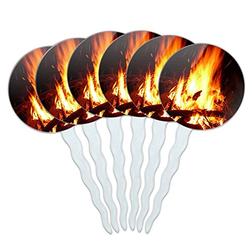 Price comparison product image Set of 6 Cupcake Picks Toppers Decoration Sports and Hobbies - Campfire Camp Camping Fire Pit Logs Flames