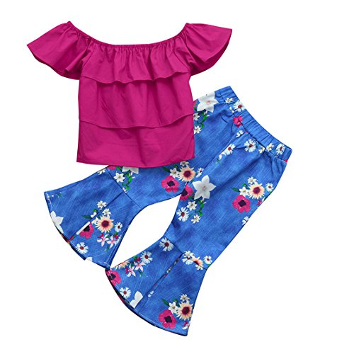 ZHANGVIP 2018 New 2Pcs Toddler Baby Kids Girls Solid Off Shoulder Tops+Floral Pants Set Outfits (4T, Hot Pink I)