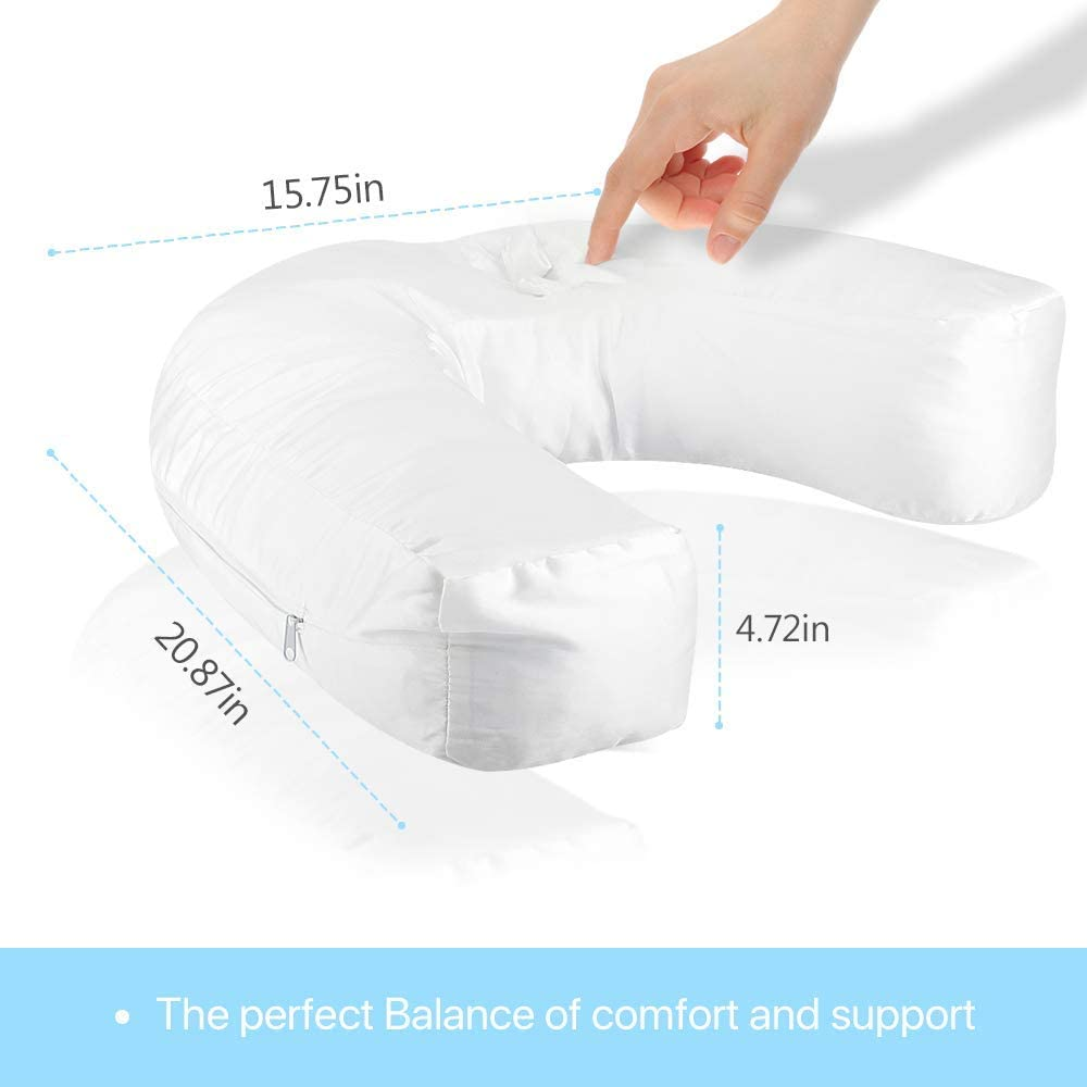 Silk Floss Inner Bed Pillow Great for Sleeping on Your Side for Neck Side Sleeper Pillow and Back Pain Relief Shoulder U Shape Contour Pillow for Sleeping with Ear Pocket White