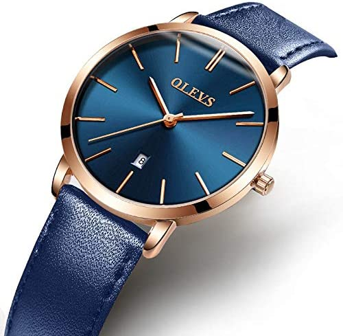 OLEVS Women Wrist Watches Ultra Thin 6.5mm Minimalist Dress Fashion Japanese Quartz Waterproof Date Day Leather Strap Slim Watches for Ladies WeeklyReviewer