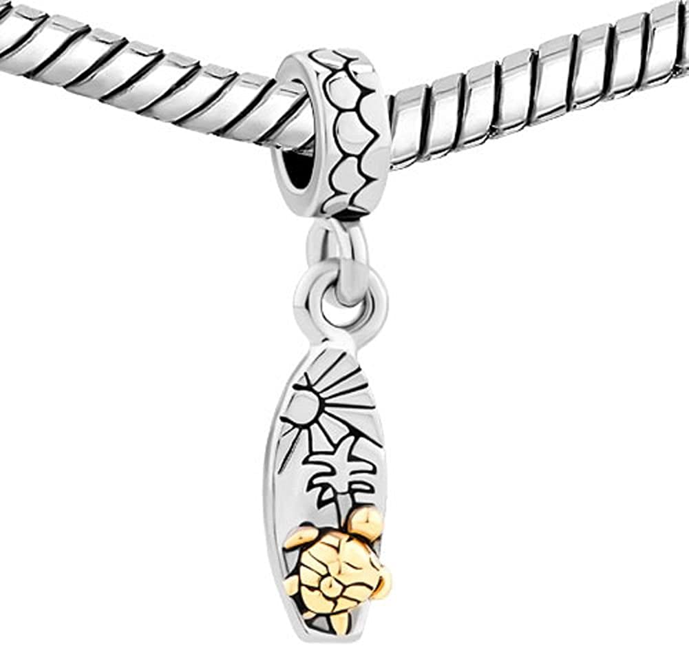 plage motif soleil et arbre planche de surf Uniqueen Breloque dor/ée pour bracelets /à breloques amour tortue de mer