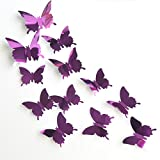 Nufelans Wall Stickers Decals 12PCS Butterfly Mirror Decoration Removable Wall Mural Decals for Kids Bedroom Living Room Nursery (Purple)