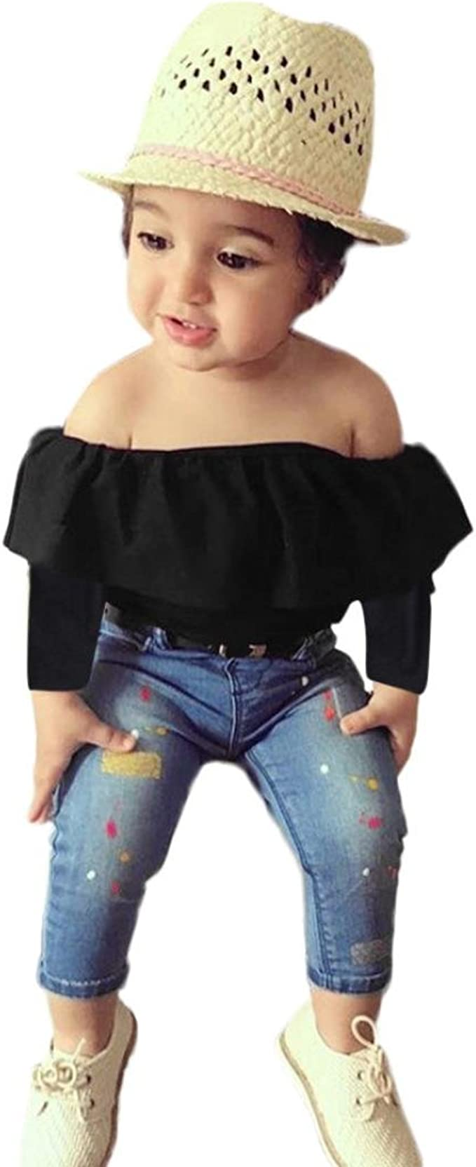 UK Toddler Kids Baby Girls Headband Off Shoulder Tops Pants 3pcs Outfits Clothes