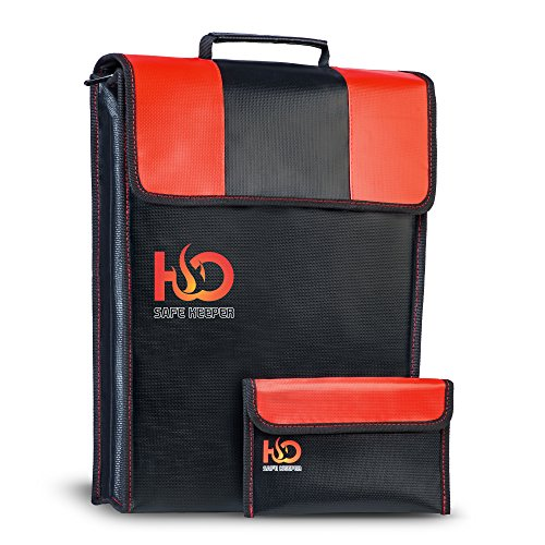 H&O Safe Keeper Fireproof Money Bag for Cash, Documents & Valuables | Large Safety Fire Resistance Document Bag & BONUS Triple Layered Fireproof Envelope Pouch | 2pcs Home Fireproof Safe Storage Set!