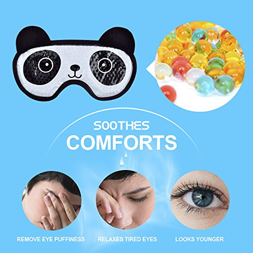 Hot Cold Face Eye Mask for Hot or Cold Therapy, Microwave Travel Sleep Eye Mask with Gel Beads, Cute Soft Ice Compress Eye Pad with Straps for Soothing Puffy Eyes, Swollen Eyes, Dark Circles, Stress by NEWGO (Image #5)