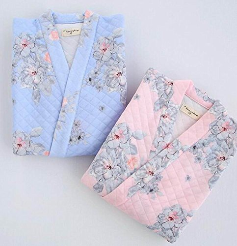 [Pink Flower] Women Cotton Bathrobes Ladies Nightgown Soft Robe for Winter at Amazon Womens Clothing store: