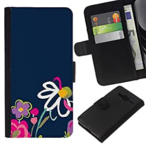 KingStore / Leather Etui en cuir / Samsung Galaxy Core Prime / Azul marino Primavera Pink Daisy Naturaleza;