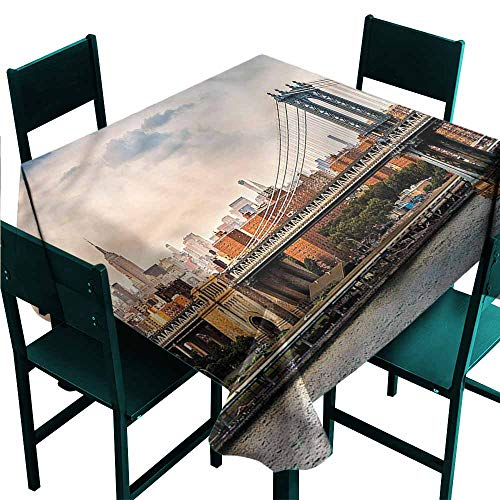 DONEECKL Antifouling Tablecloth New York Manhattan Bridge in NYC Soft and Smooth Surface W36 xL36