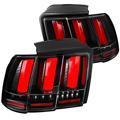 Ford Mustang Replacement Jet Black Sequential LED Tail Lights Brake Lamps (Mustang Tail Lamp Housing)