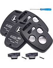 (2 PACK) Compatible with Honda (NO CUTTING) Key Fob shell case cover phob fits 2003-2017 Accord CR-V CR-Z Civic Fit Pilot Odyssey Acura TL TSX - (4 Buttons)
