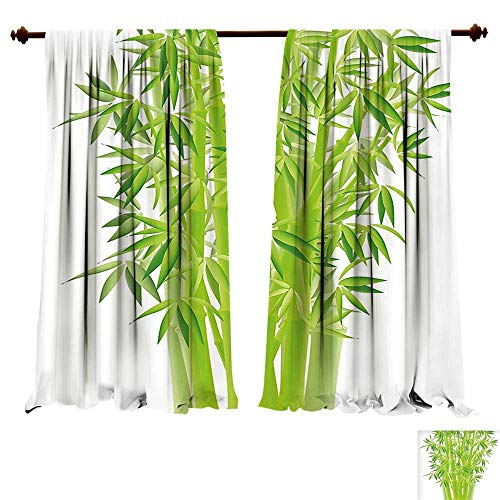 Blackout Curtain Panels Window Draperies Exotic Bamboo Stems with Leaves Spiritual Fresh Bunch Tropical Plant Eco Foliage Print Lime Green Waterproof Window Curtain (W84 x L107 -Inch 2 Panels)