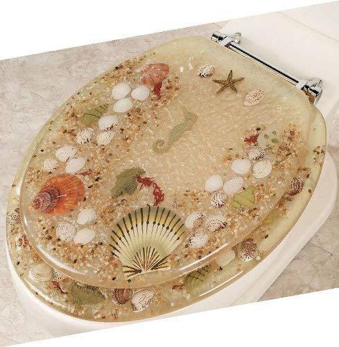 Popular Bath Elongated Beige Jewel Shell Seashell & Seahorse Resin Toilet SEAT with Chrome Hinges (Jewel Shell Toilet Seat)