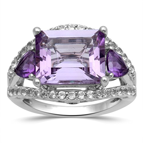 Jewelili Sterling Silver Octagon And Trillion Amethyst with Emerald And White Topaz Three Stone Ring, Size 7