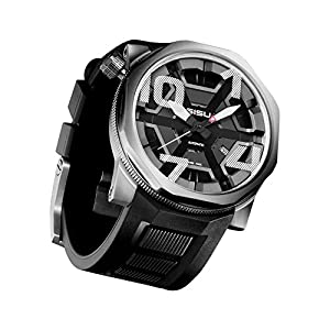 SISU Bravado A7 Swiss Automatic Men's Watch, Black Cage Dial, Rubber Strap (Model: BA7-50-RB)