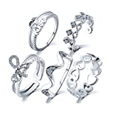 VAESKY Women's Cubic Zirconia Inlaid Heart Bow Crown KISS Shaped Joint Knuckle Nail Midi Ring (Set of 5) (Silver)
