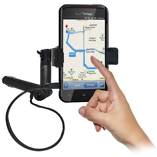 Amzer AMZ94269 Lighter Socket Phone Mount with Charging & Case System for HTC Droid Incredible 4G LTE ADR6410 - Mount - Retail Packaging - Black