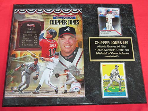 Braves Chipper Jones 2 Card Collector Plaque w/8x10 2018 Hall of Fame Photo