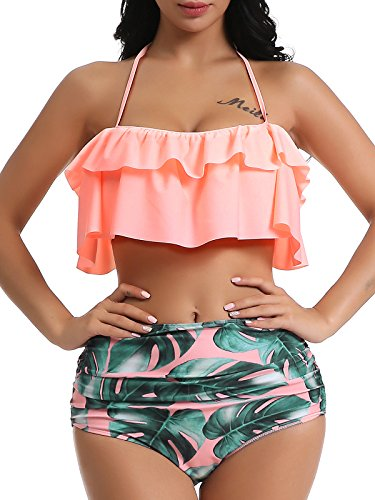 9dd6b41e2bb0c OGNEE Women Bathing Suit Two Piece Swimsuit Ruffled Flounce High Waisted  Bikini Swimwear (Pink,